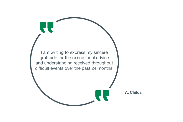 I am writing to express my sincere gratitude for the exceptional advice and understanding received throughout difficult events over the past 24 months - A. Childs