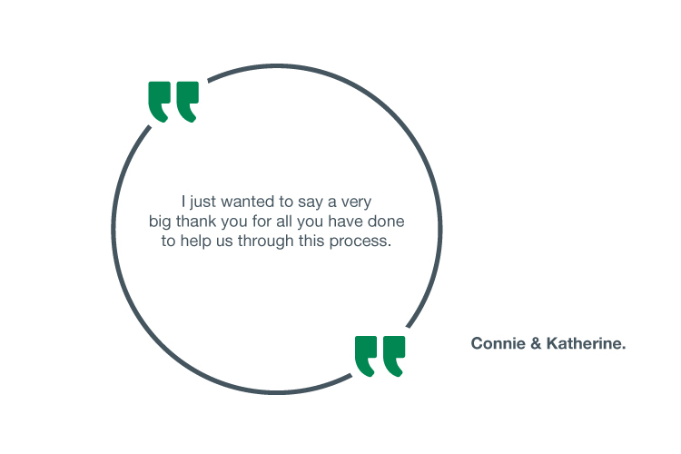 I just wanted to say a very big thank you for all you have done to help us through this process - Connie & Katherine