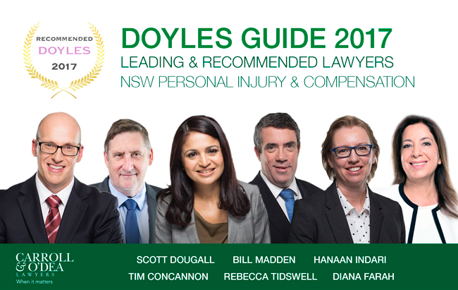 Doyles Guide - NSW Personal Injury & Compensation Law Rankings, 2017