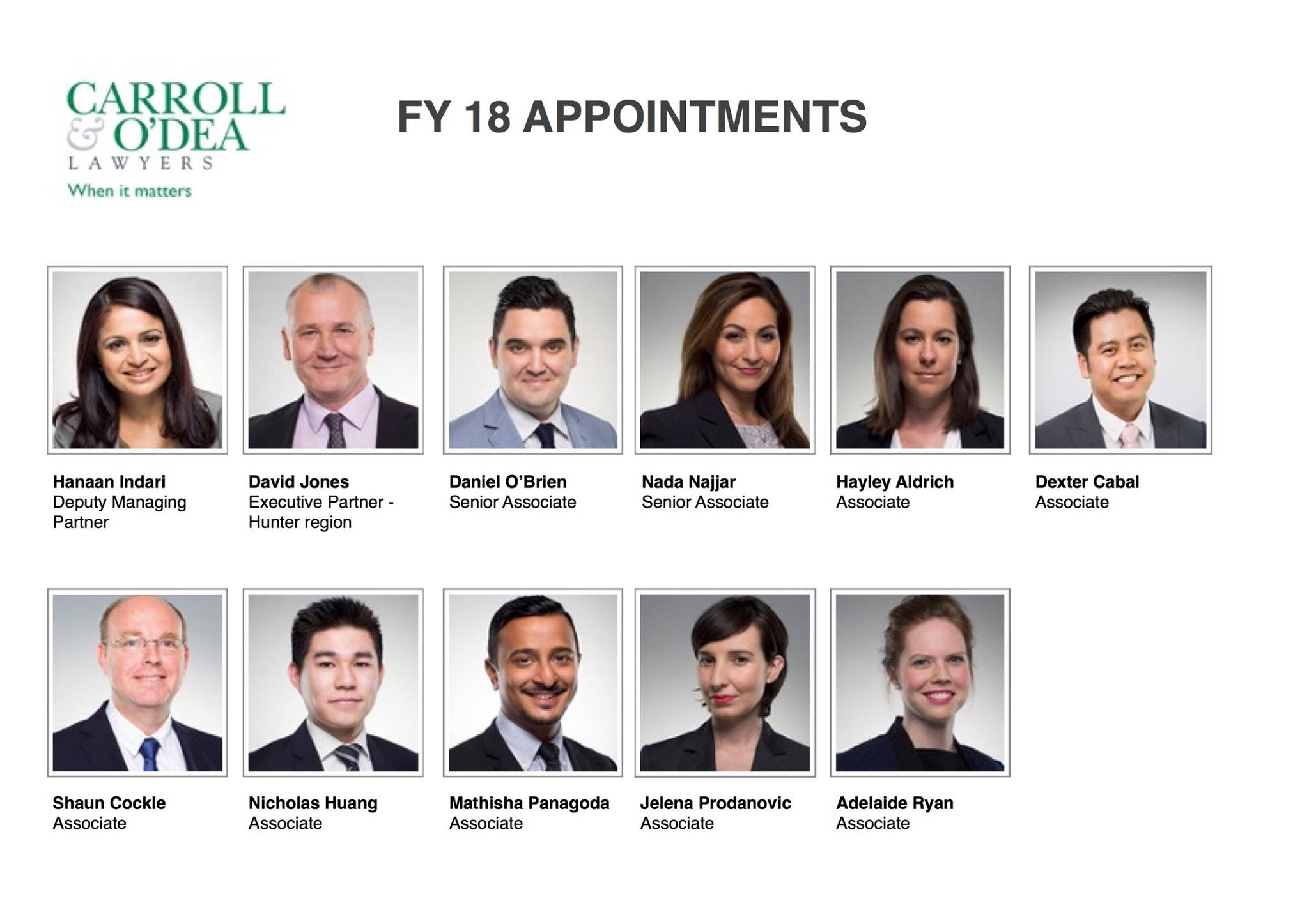 Carroll & O'Dea Lawyers announces FY18 appointments, including new Deputy Managing Partner
