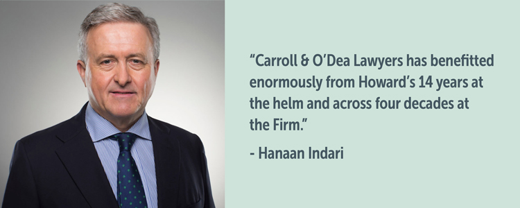 Managing Partner of Carroll & O'Dea Lawyers, Hanaan Indari, pays tribute to predecessor Howard Harrison