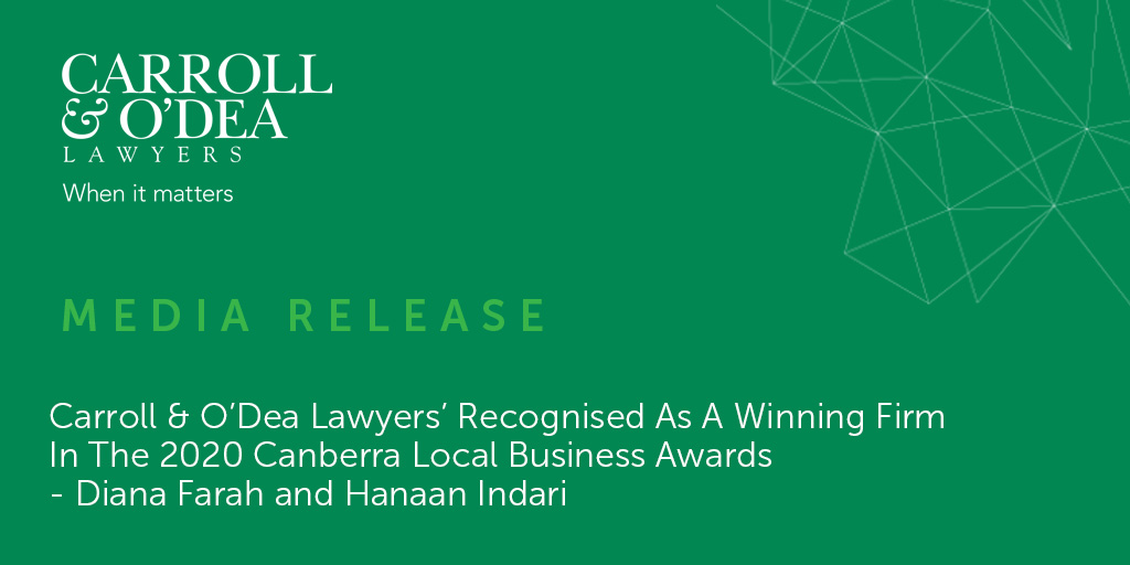 Carroll & O'Dea Lawyers' Recognised As A Winning Firm In The 2020 Canberra Local Business Awards