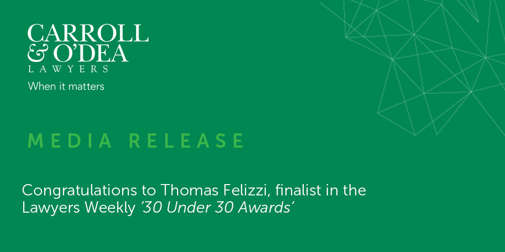 Congratulations to Thomas Felizzi, finalist in the Lawyers Weekly '30 Under 30 Awards'