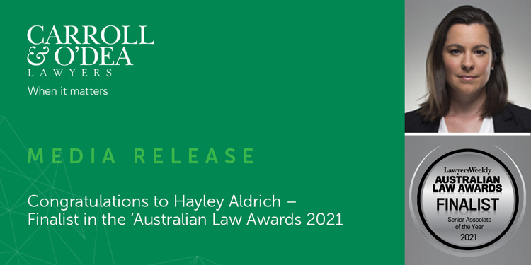 Congratulations to Hayley Aldrich – Finalist in the 'Australian Law Awards 2021'