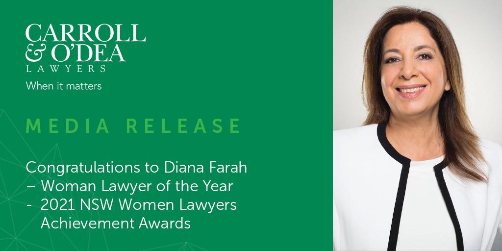 Congratulations to Diana Farah – Woman Lawyer of the Year  - 2021 NSW Women Lawyers Achievement Awards